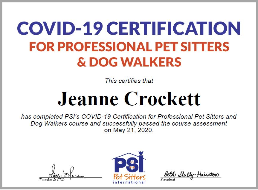 COVID-19 Certification from PSI of Crockett